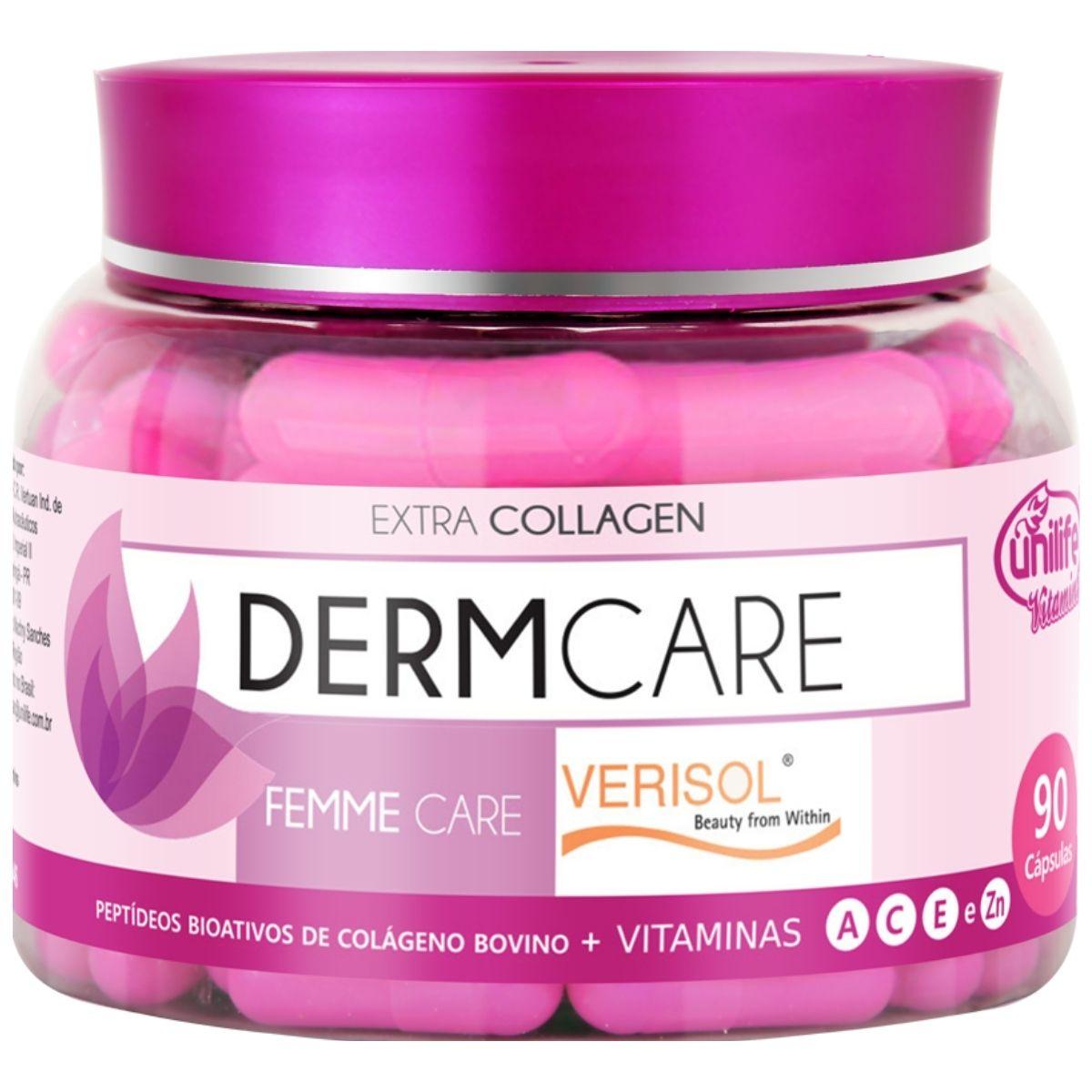 Colageno Hidrolisado Verisol Derm Care C/ Vitaminas 90 Cápsulas 630mg - Unilife