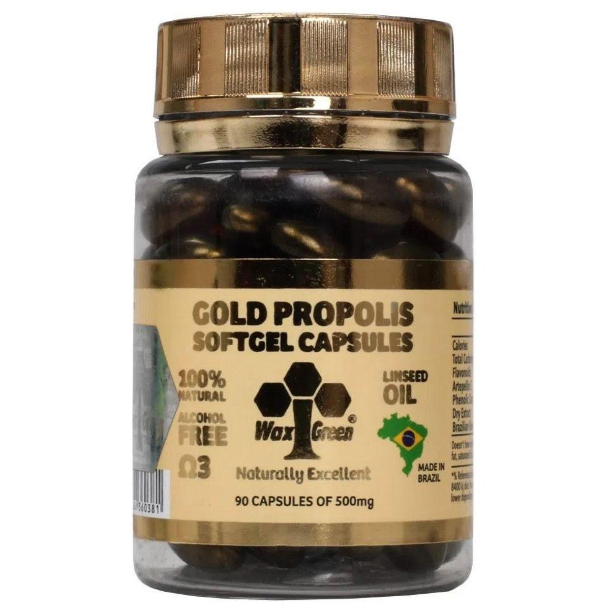 Própolis Verde Gold 87% C/ Ômega 3 90 cápsulas 500mg - Wax Green