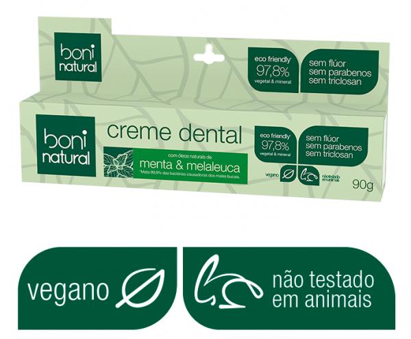Creme Dental Natural Menta e Melaleuca Sem Flúor 90g Boni