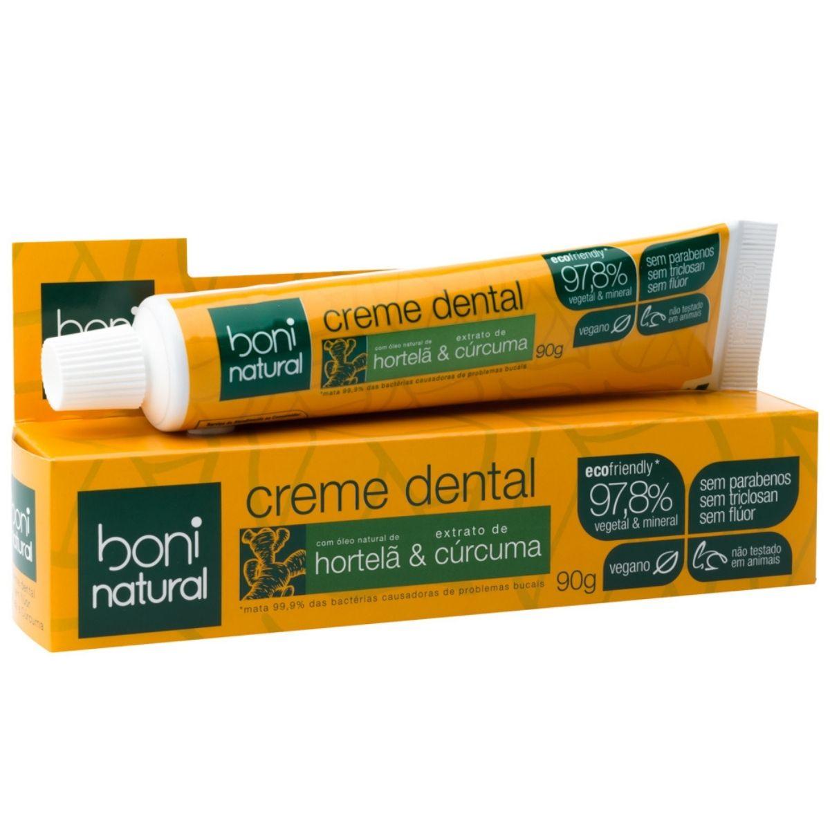 Creme Dental Natural Hortelã e Cúrcuma Sem Flúor 90g - Boni Natural