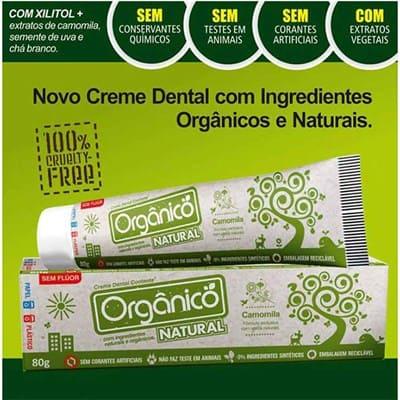 Creme Dental Orgânico Natural Sem Fluor Vegano 80g - Suavetex