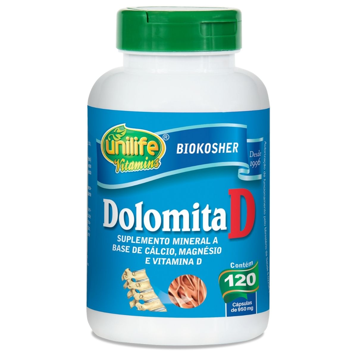 Dolomita D - Cálcio, Magnésio e Vitamina D3 120 Cápsulas - Unilife