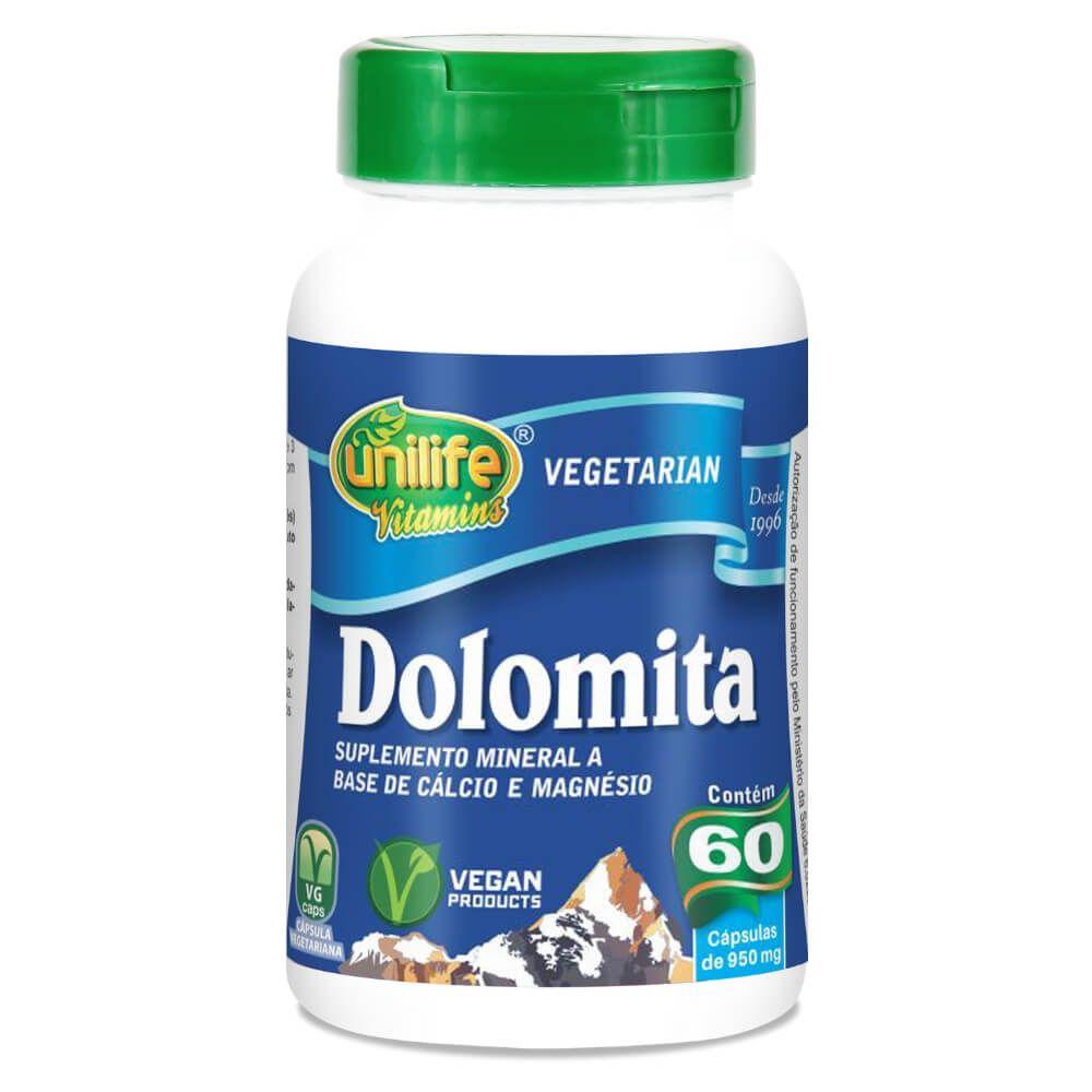 Dolomita - Cálcio e Magnésio 60 Cáps 950mg - Unilife