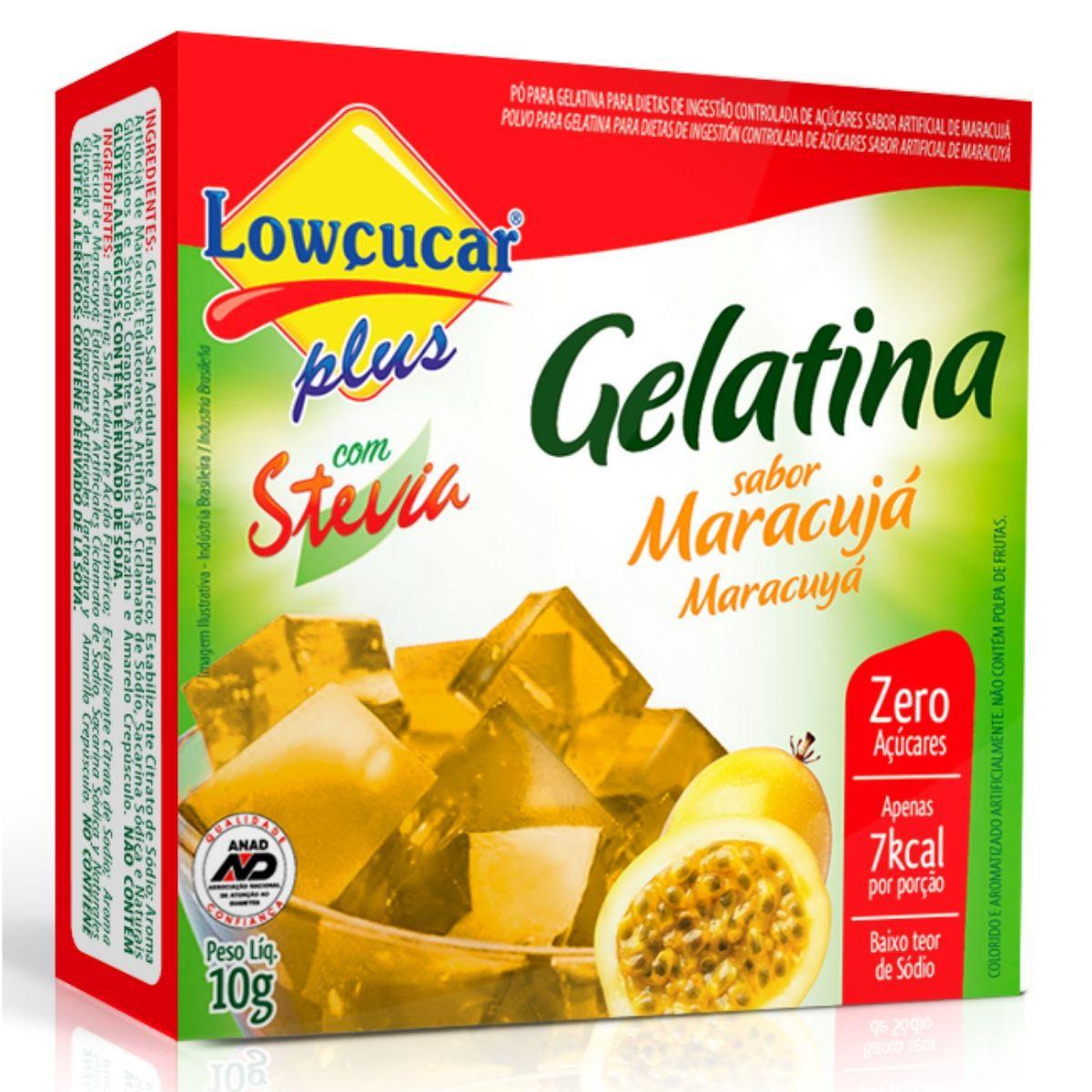Gelatina Zero Açúcar C/ Stevia 10g Sabor Maracuja - Lowçucar Plus