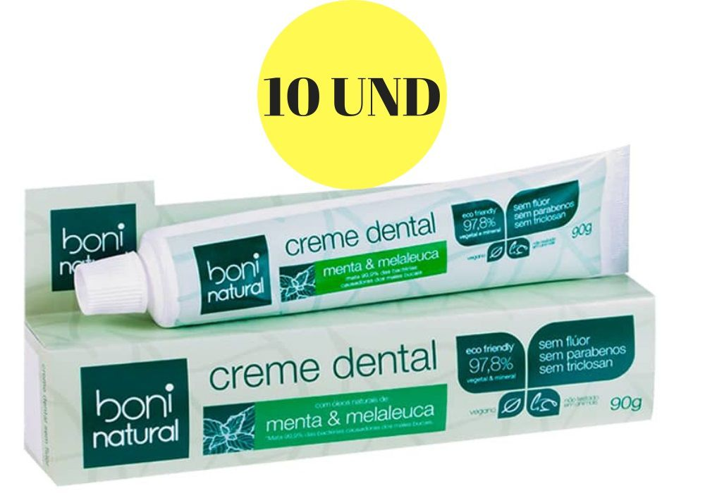 Kit 10 Creme Dental Boni Natural Menta e Melaleuca Sem Flúor 90g