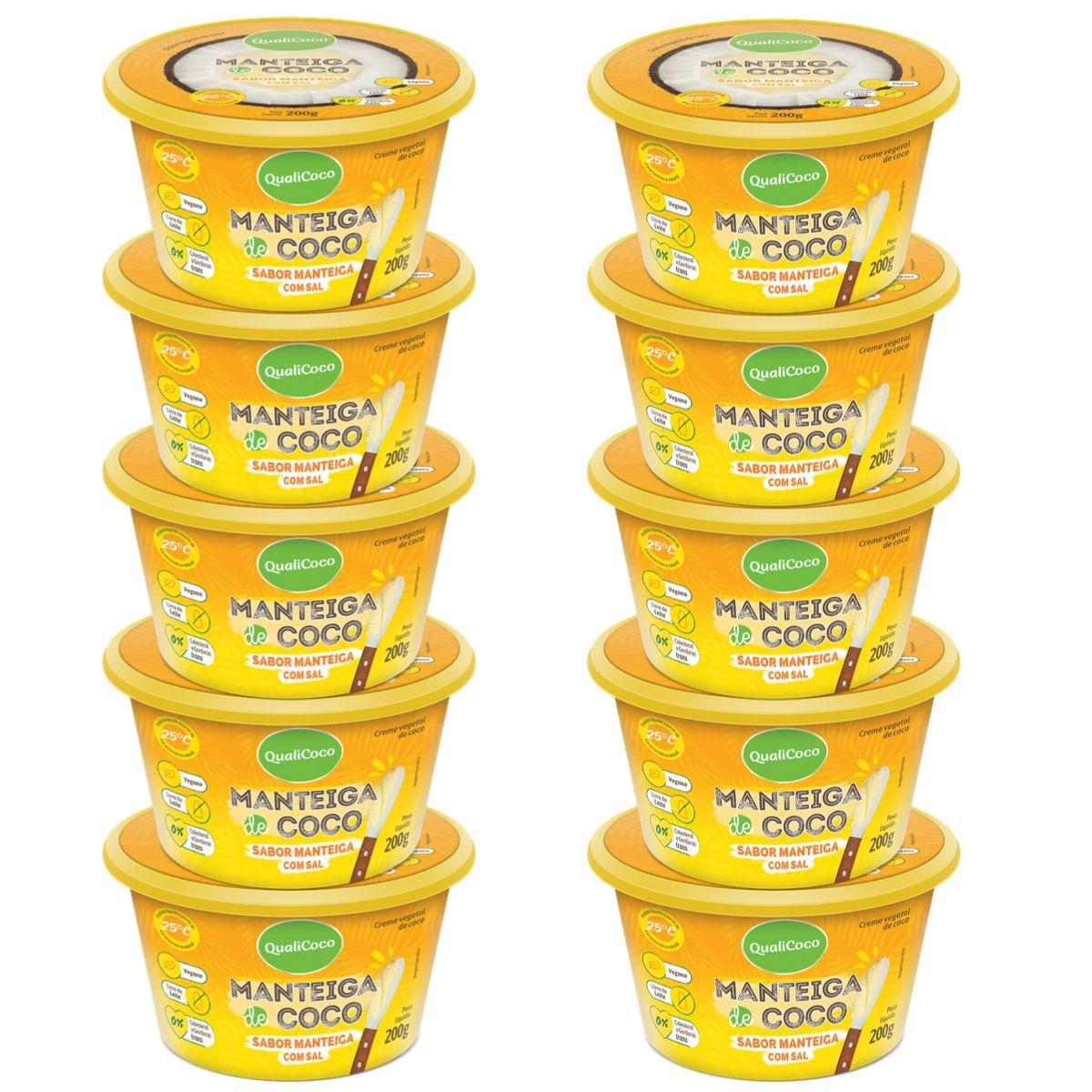 Kit 10 Manteigas De Coco C/ Sal Sabor Manteiga 200g - QualiCôco