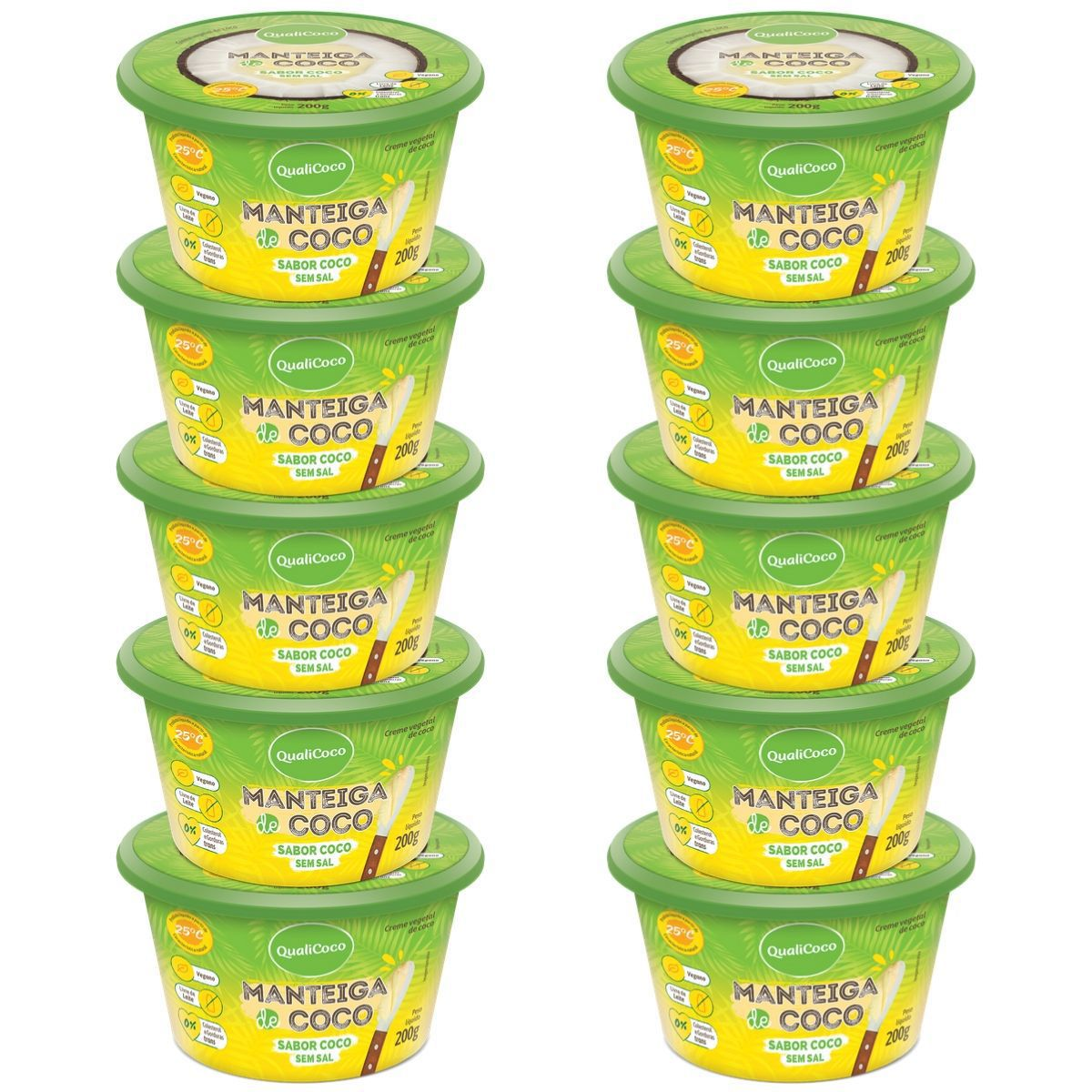 Kit 10 Manteigas De Coco Sem Sal Sabor Coco 200g - QualiCôco