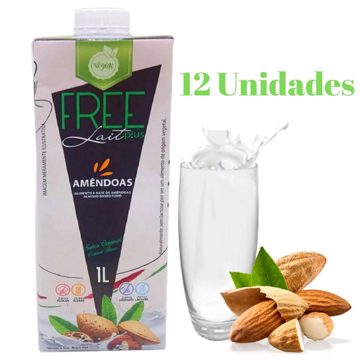 Kit 12 Leite de Amêndoas 1L Sem Lactose - Free Lait