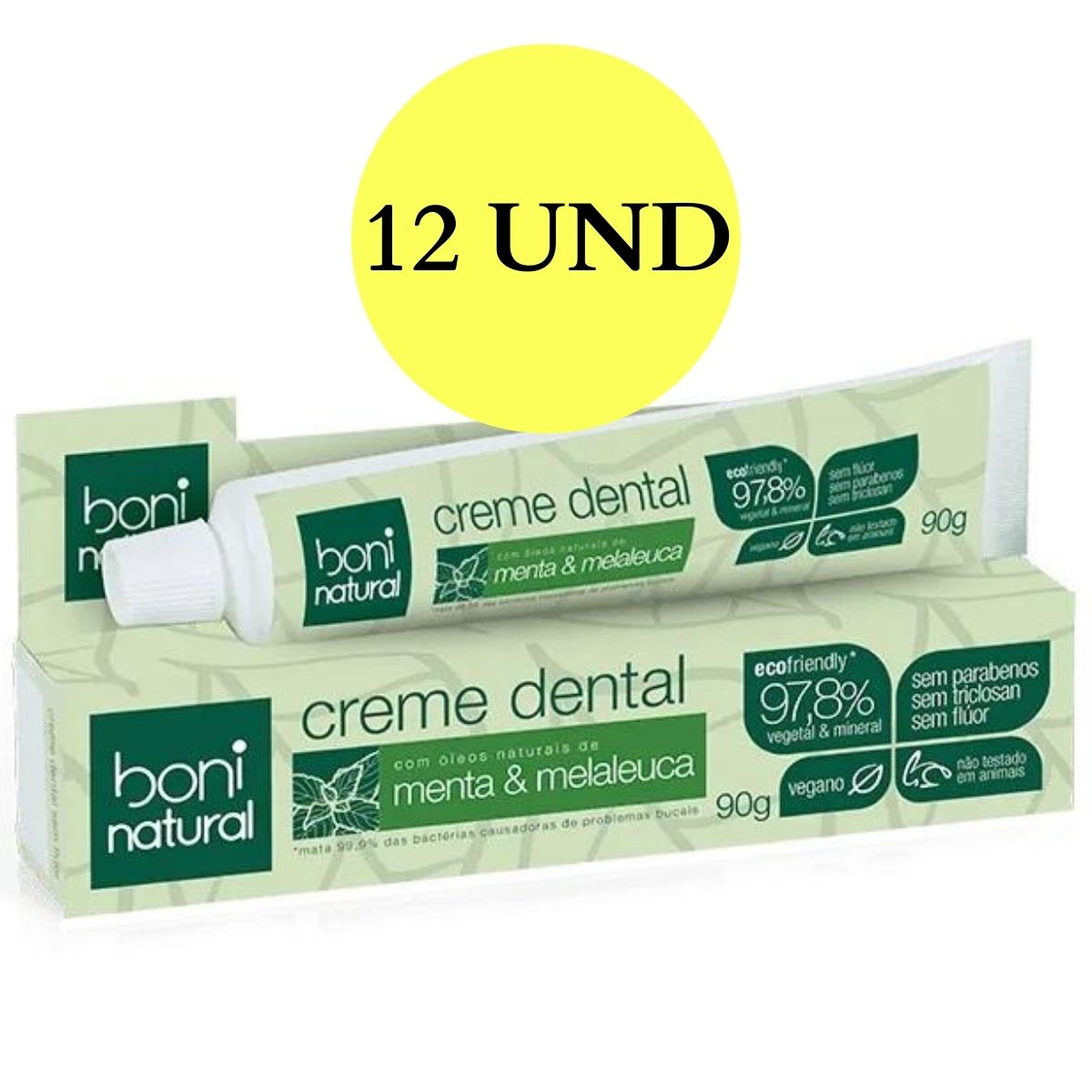 Kit 12x Creme Dental Boni Natural Menta e Melaleuca Sem Flúor 90g