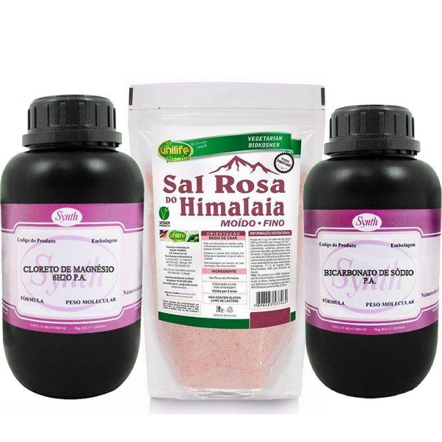 Kit 1 Kg Cloreto De Magnésio Pa + 1 Kg Bicarbonato De Sódio Pa - Synth + 1 Kg Sal Rosa Himalaia
