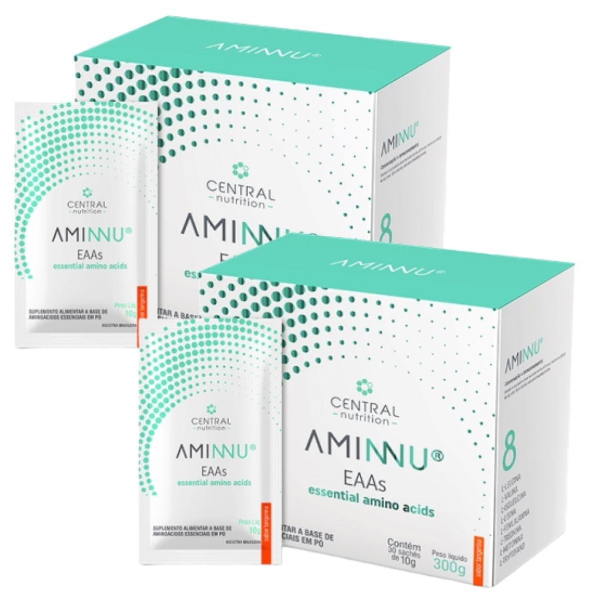 Kit 2 Aminnu Tangerina 10G 30 Sachês EAAs - A Base De Aminoácidos Essenciais - Central Nutrition