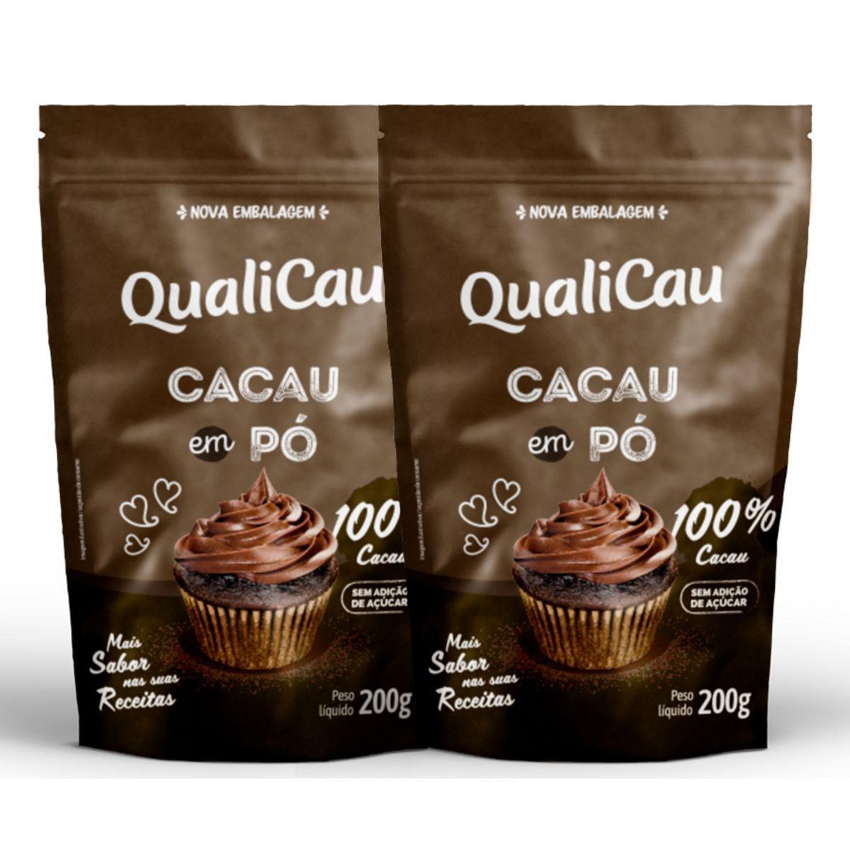 Kit 2 Cacau Em Pó 100% Cacau Zero Açúcar 200g - QualiCôco