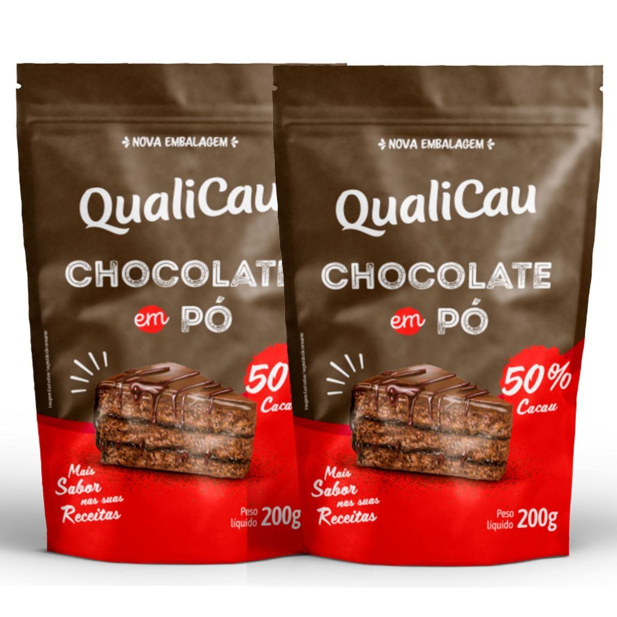 Kit 2 Chocolates Em Pó 50% Cacau 200g - QualiCôco