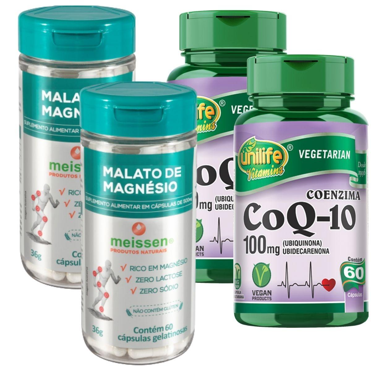 Kit 2 Coenzima Q10 100 Mg 60 Cápsulas + 2 Malato de Magnésio 60 Cápsulas- Meissen