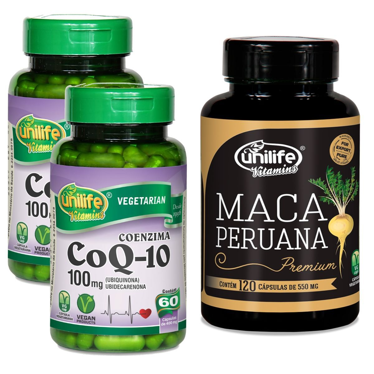 Kit 2 Coenzima Q10 60 Cáps + 1 Maca Peruana Premium 120 Cáps - Unilife