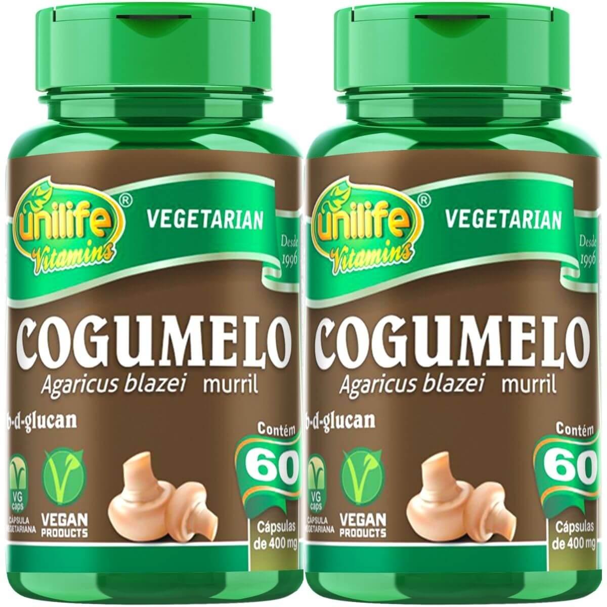 Kit 2 Cogumelo Agaricus Blazei Murril Unilife - 60 Cápsulas 400mg
