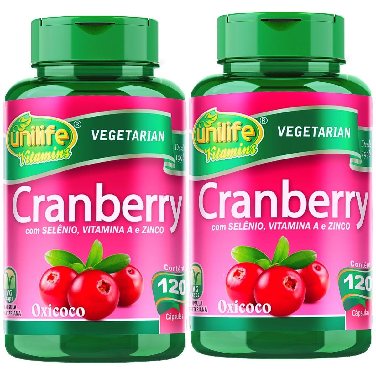 Kit 2 Cranberry Antioxidante Unilife - 500mg 120 Cápsulas