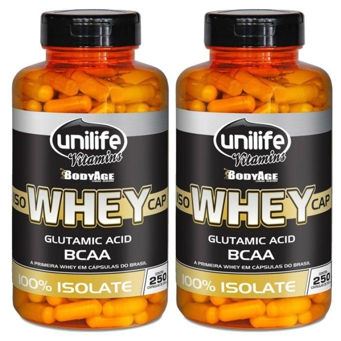 Kit 2 Iso Whey Protein 100% Isolado - 250 Cápsulas 550mg - Unilife