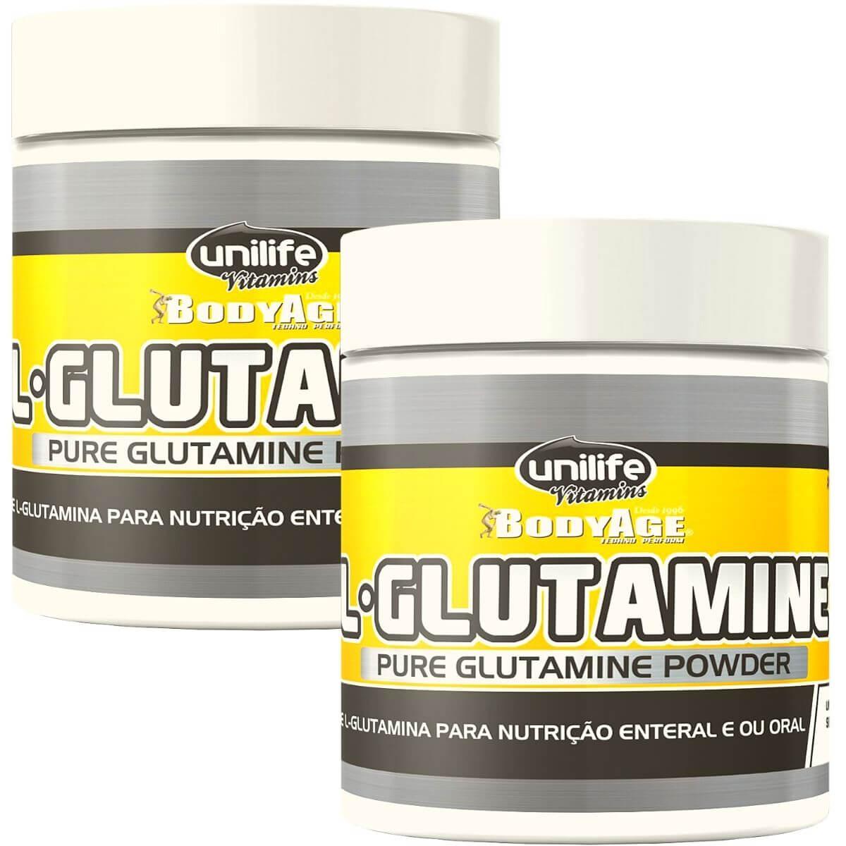 Kit 2 L-Glutamina em Pó 100% Pura - 300g Unilife