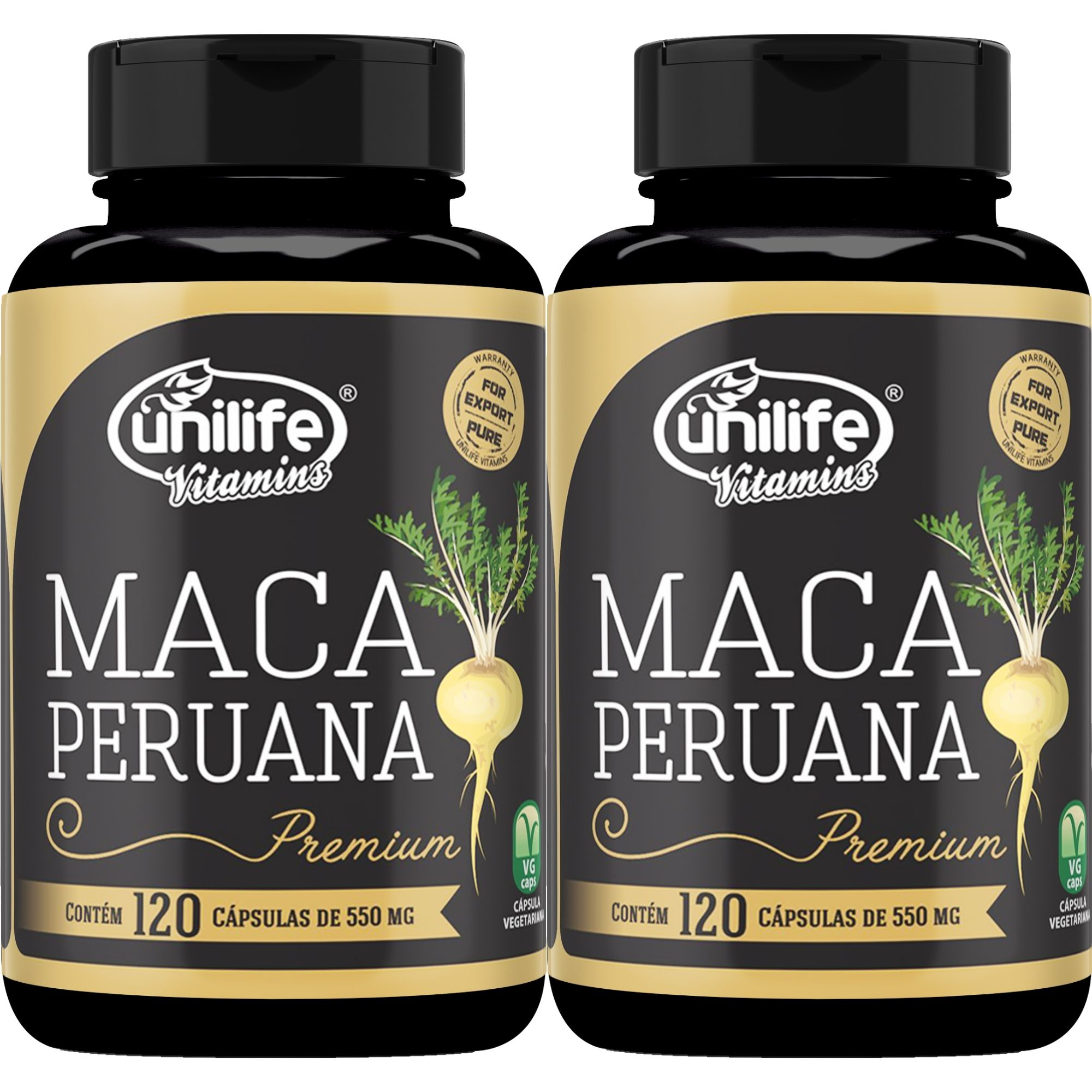 Kit 2 Maca Peruana Premium 100% Pura 550mg - 240 Cáps Total - Unilife