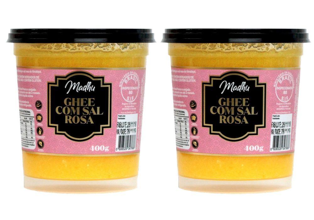 Kit 2 Manteigas Ghee 400g C/ Sal Rosa do Himalaia Clarificada Zero Lactose/ Gluten - Madhu