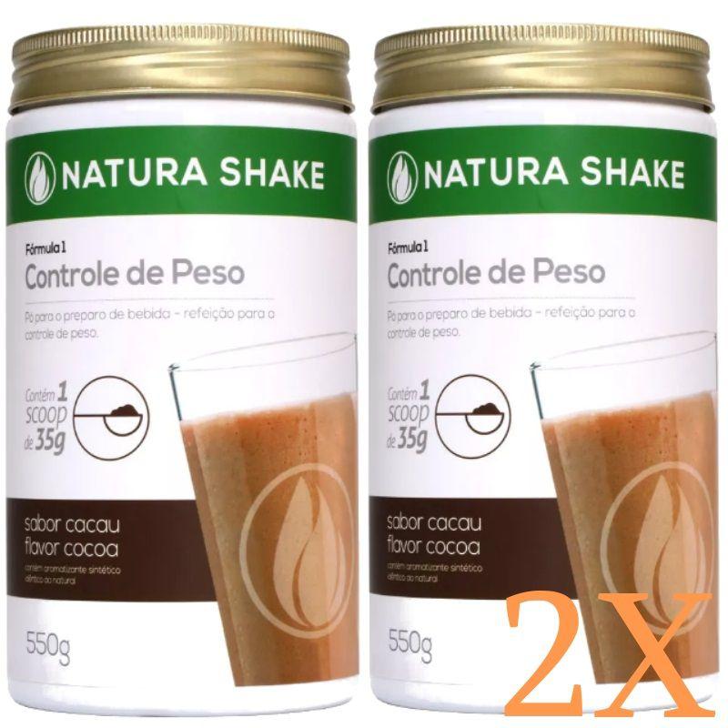 Kit 2 Natura Shake Sabor Cacau 550g - Ideal Para Dieta