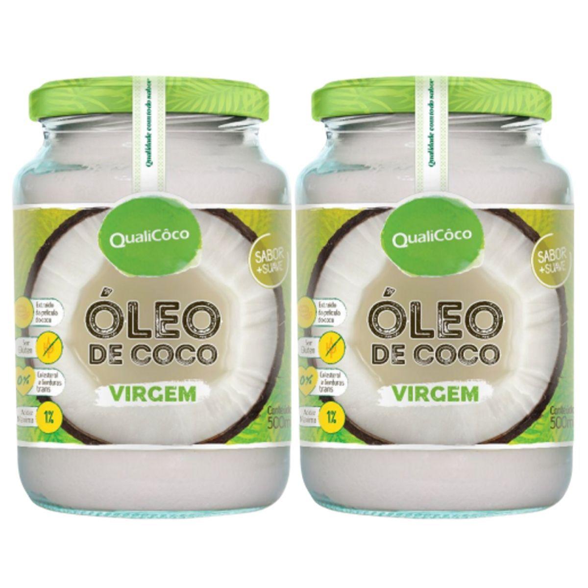 Kit 2 Óleo De Coco Virgem Prensado A Frio Sem Glúten 500ml - QualiCôco