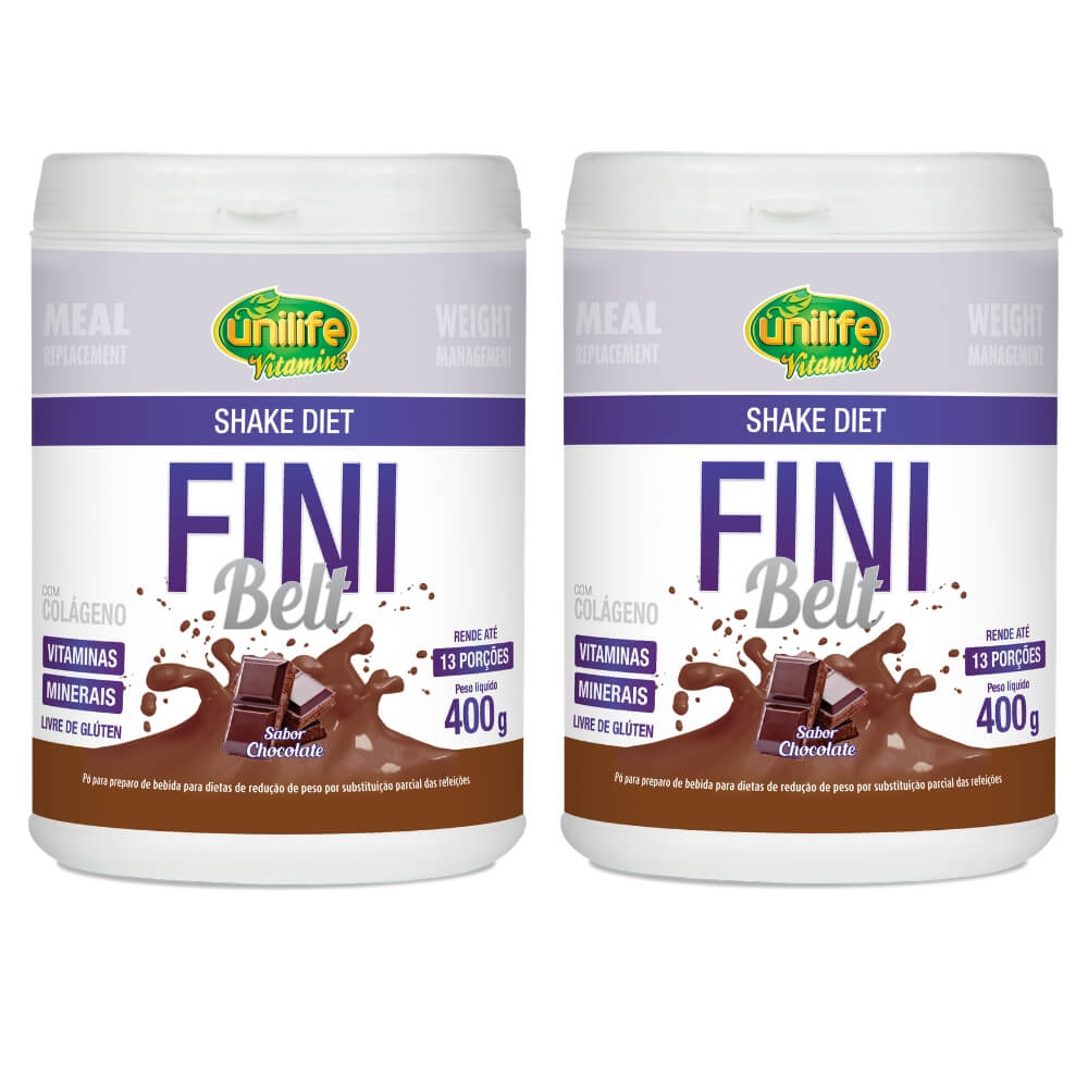 Kit 2 Shake Diet Fini Belt Unilife - 400g Sabor Chocolate