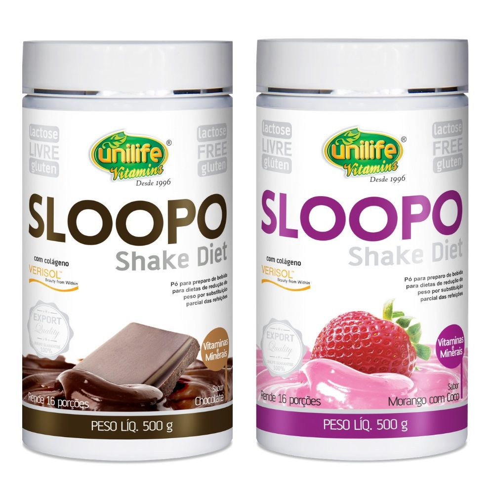 Kit 1 Shake Diet Sloopo C/ Colágeno Sabor Chocolate + 1 Sabor Morango Unilife - 500g
