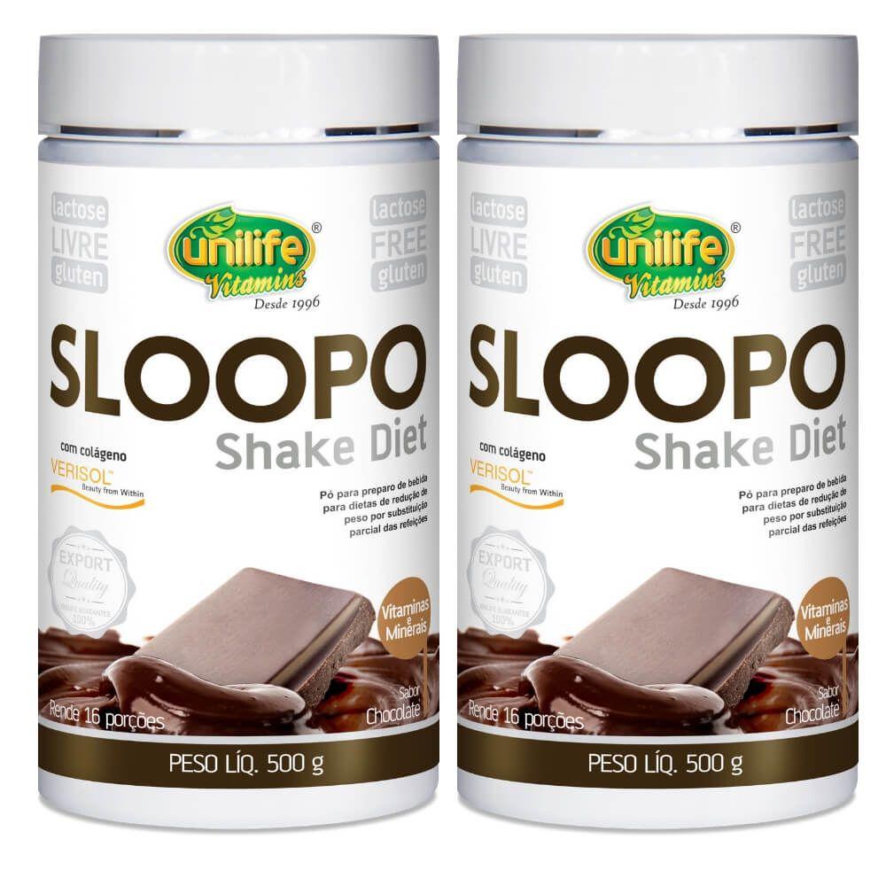 Kit 2 Shake Diet Sloopo Sabor Chocolate Unilife - 500g
