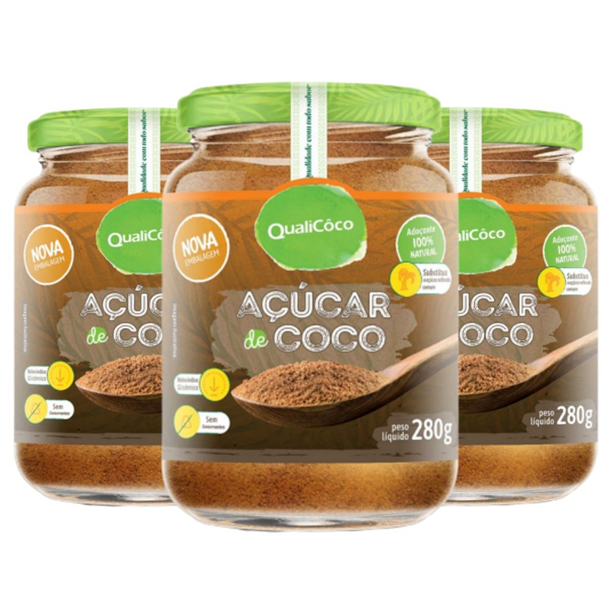 Kit 3 Açúcar De Coco 100% Natural 280g - QualiCôco
