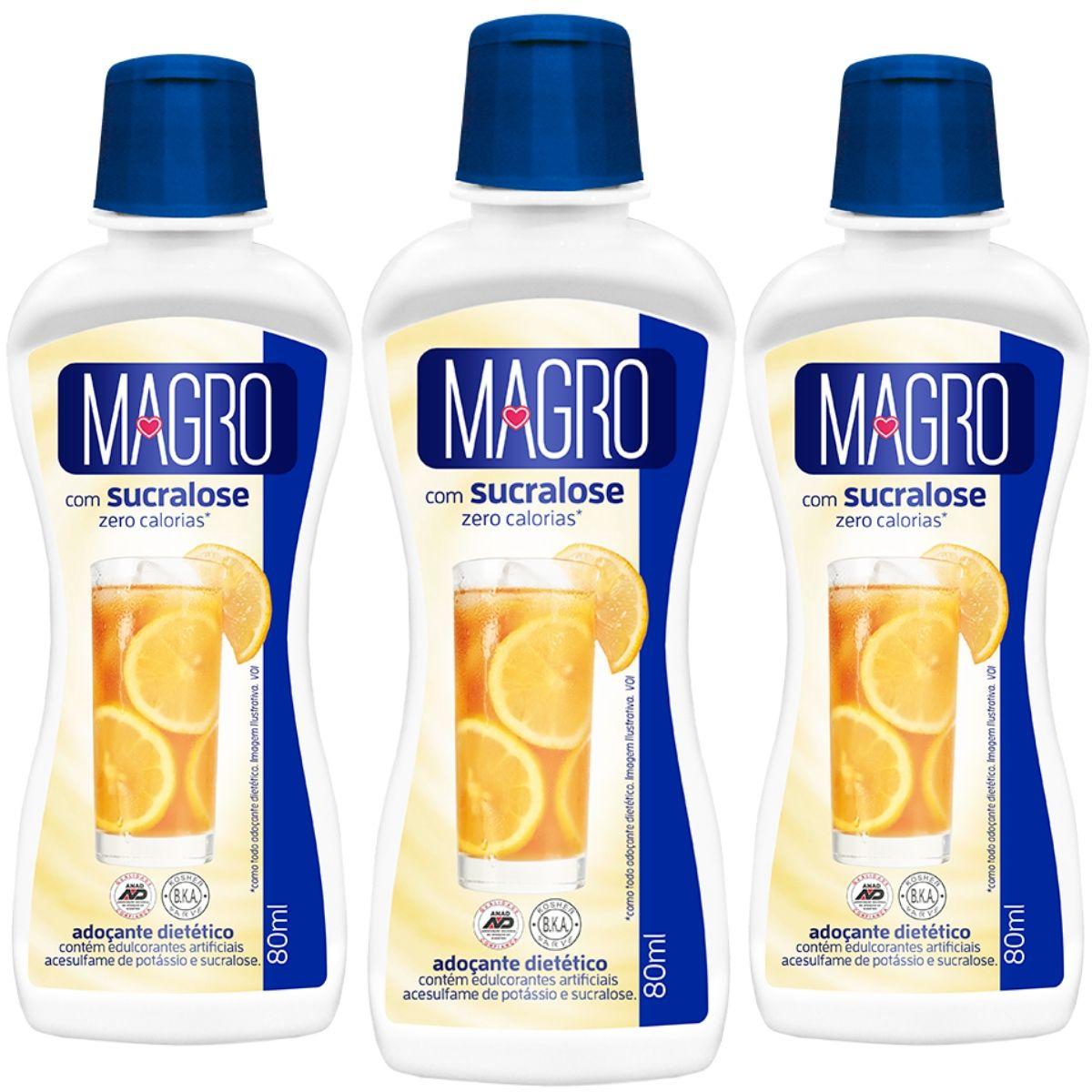 Kit 3 Adoçante Magro C/ Sucralose Liq 80ml - Zero Calorias