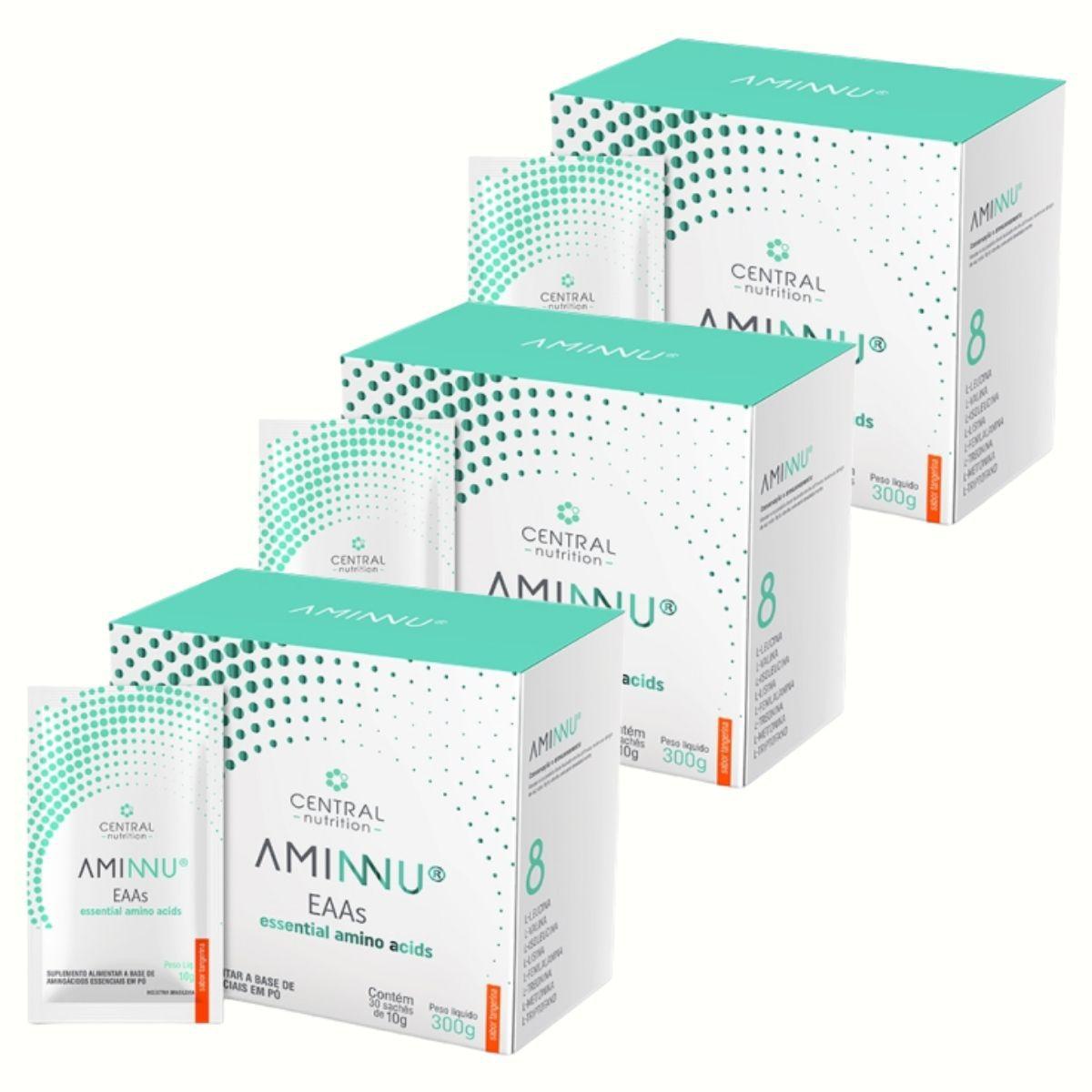 Kit 3 Aminnu Tangerina 10G 30 Sachês EAAs - A Base De Aminoácidos Essenciais - Central Nutrition
