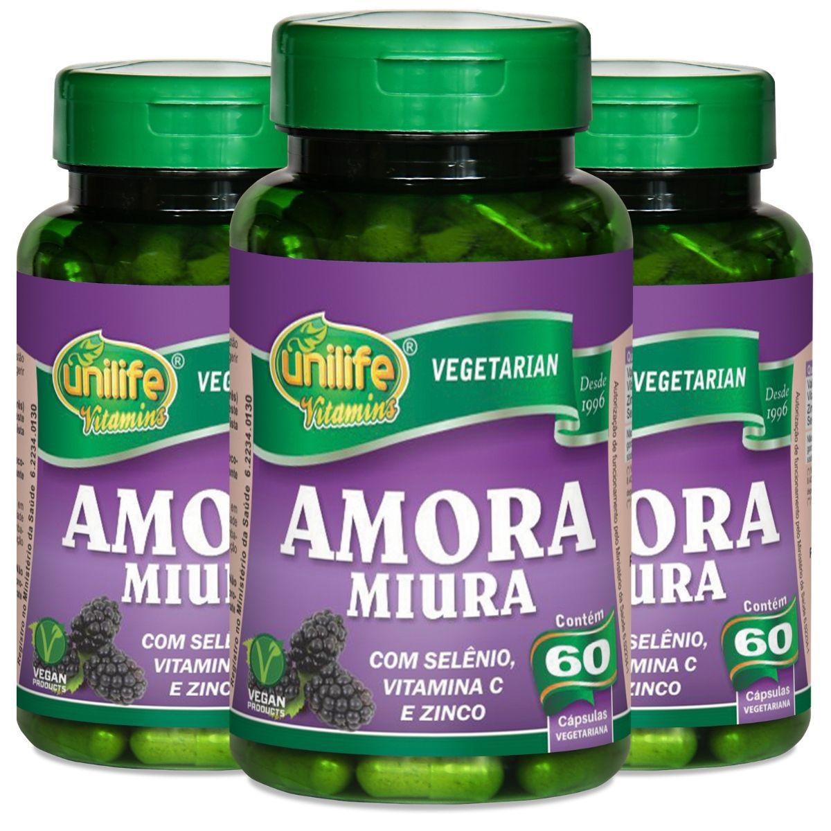 Kit 3 Amora Miura Vitaminas e Mineral - 500mg 60 Capsulas - Unilife
