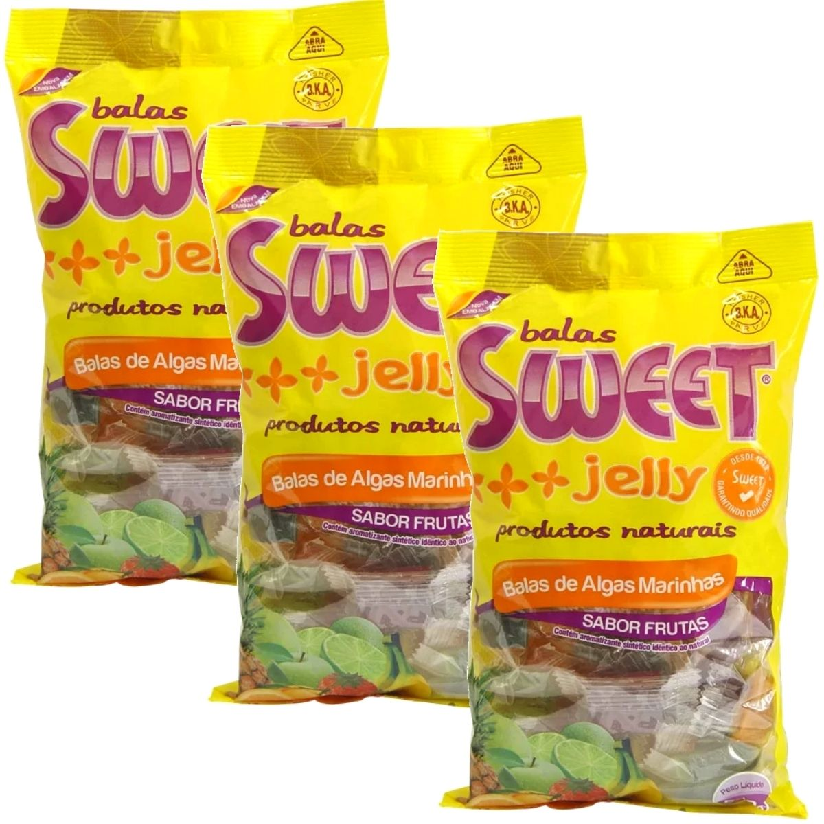 Kit 3 Balas De Algas Marinhas Sabor Frutas 500g - Sweet Jelly