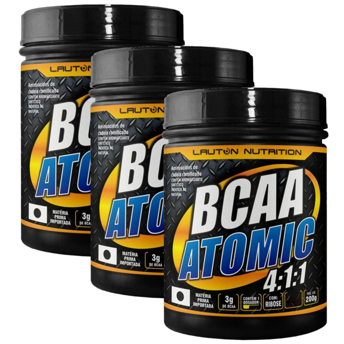 Kit 3 BCAA Atomic 4:1:1 200g - Lauton Nutrition