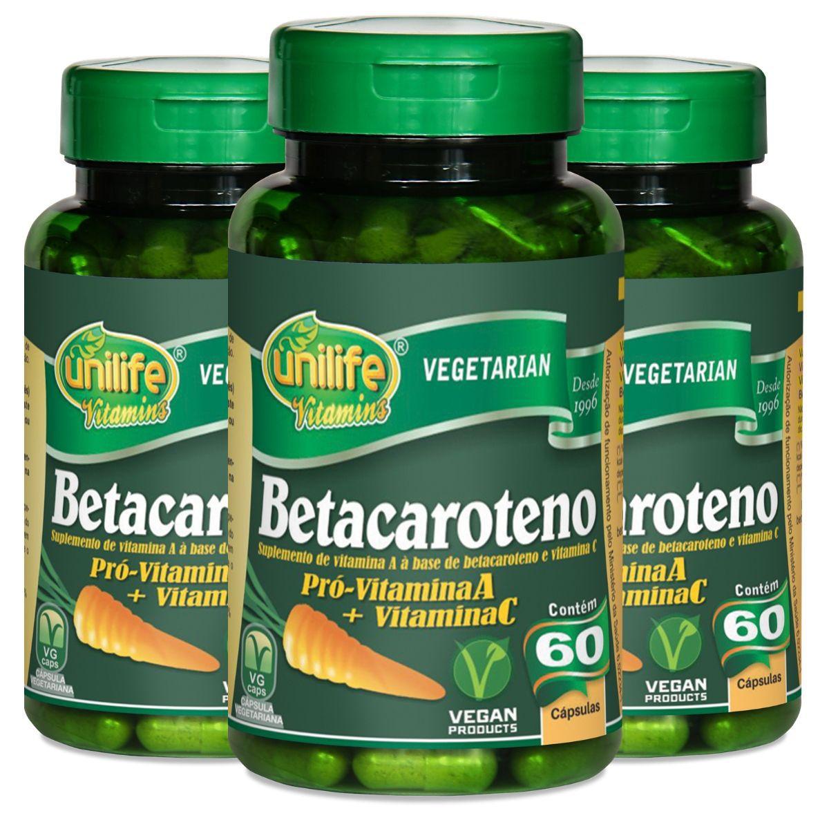 Kit 3 Betacaroteno Unilife - 500 Mg 60 Cápsulas