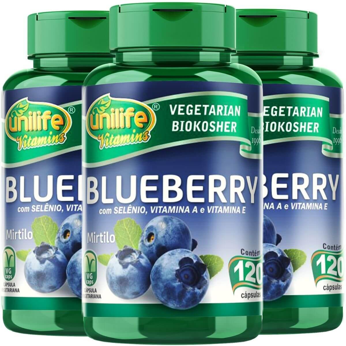 Kit 3 Blueberry Mirtilo Antioxidante Unilife - 120 Cápsulas 550mg