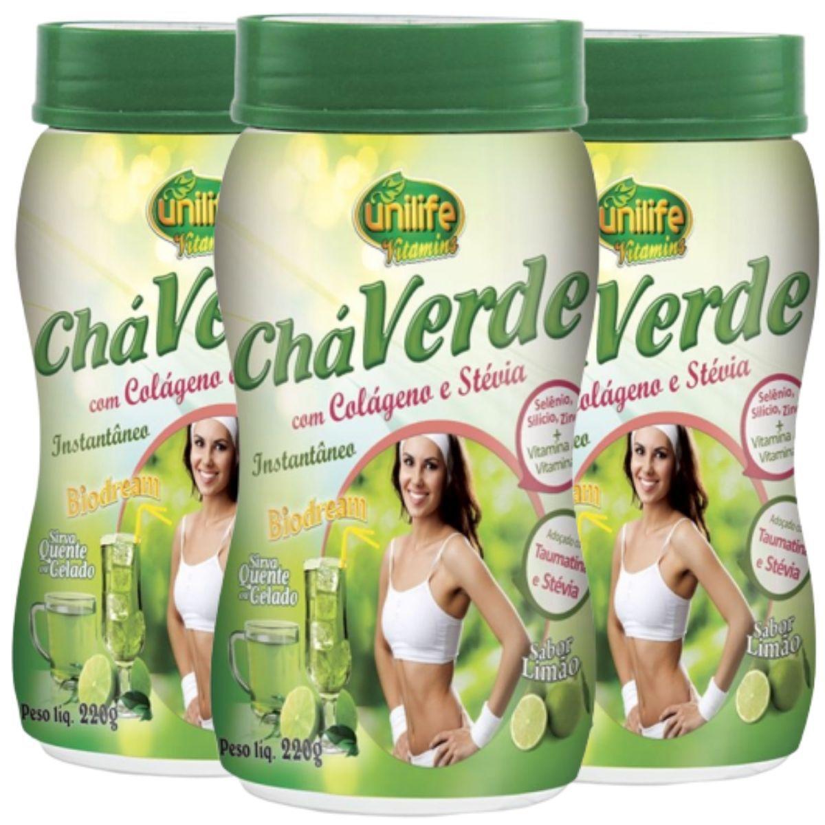 Kit 3 Chá Verde C/ Colágeno E Stévia 220g - Unilife
