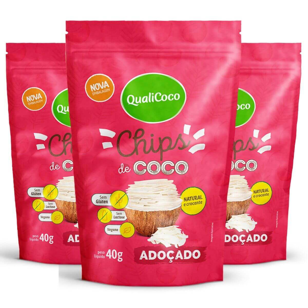 Kit 3 Chips De Coco Adoçado Snack Crocante - QualiCôco