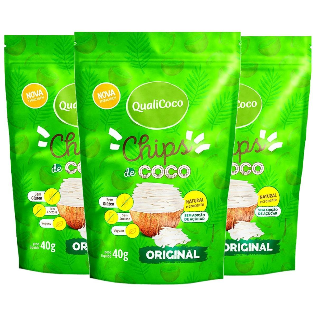 Kit 3 Chips De Coco Original Snack Crocante - QualiCôco