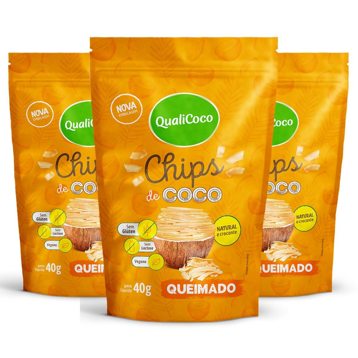 Kit 3 Chips De Coco Queimado Snack Crocante - QualiCôco