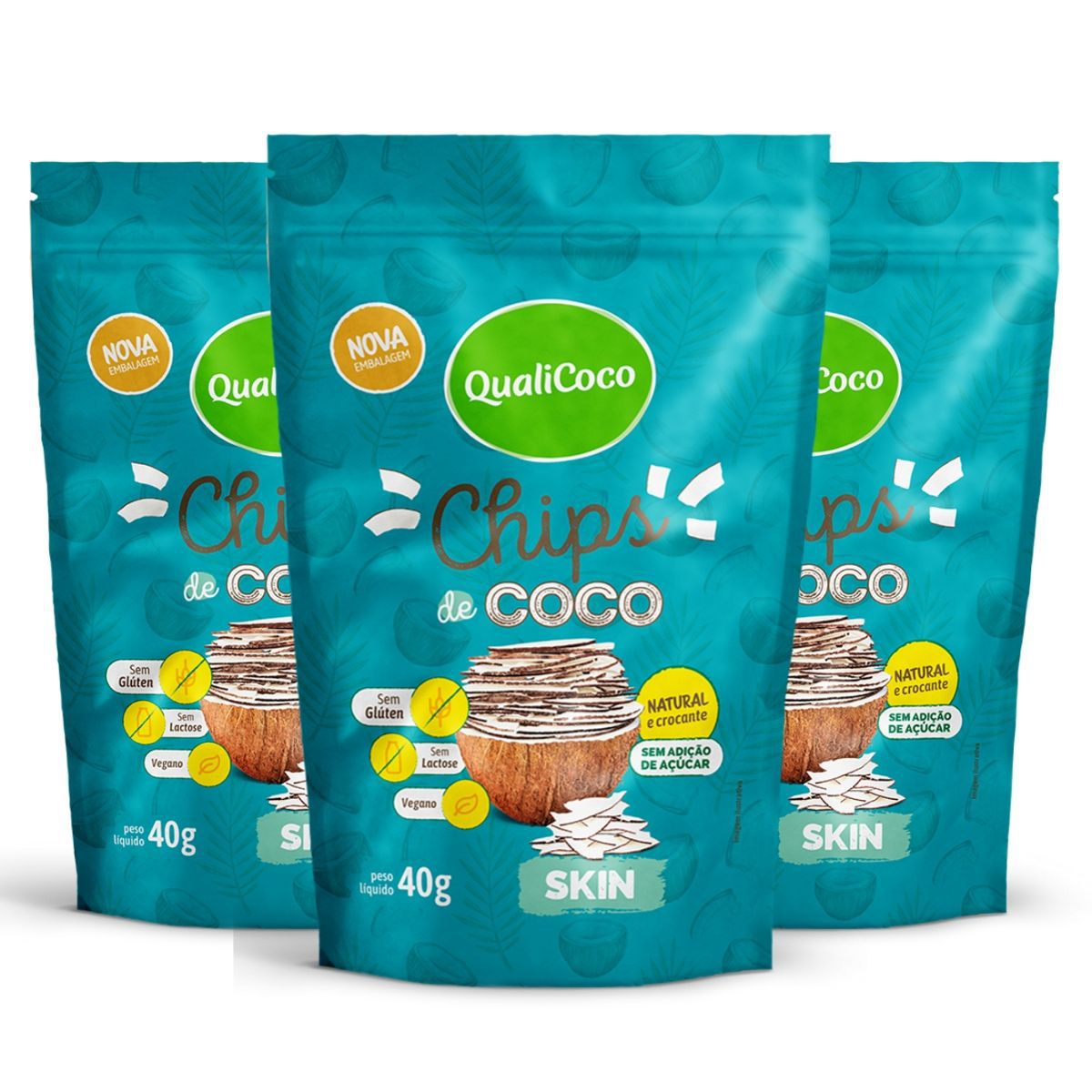 Kit 3 Chips De Coco Skin Snack Crocante  - QualiCôco