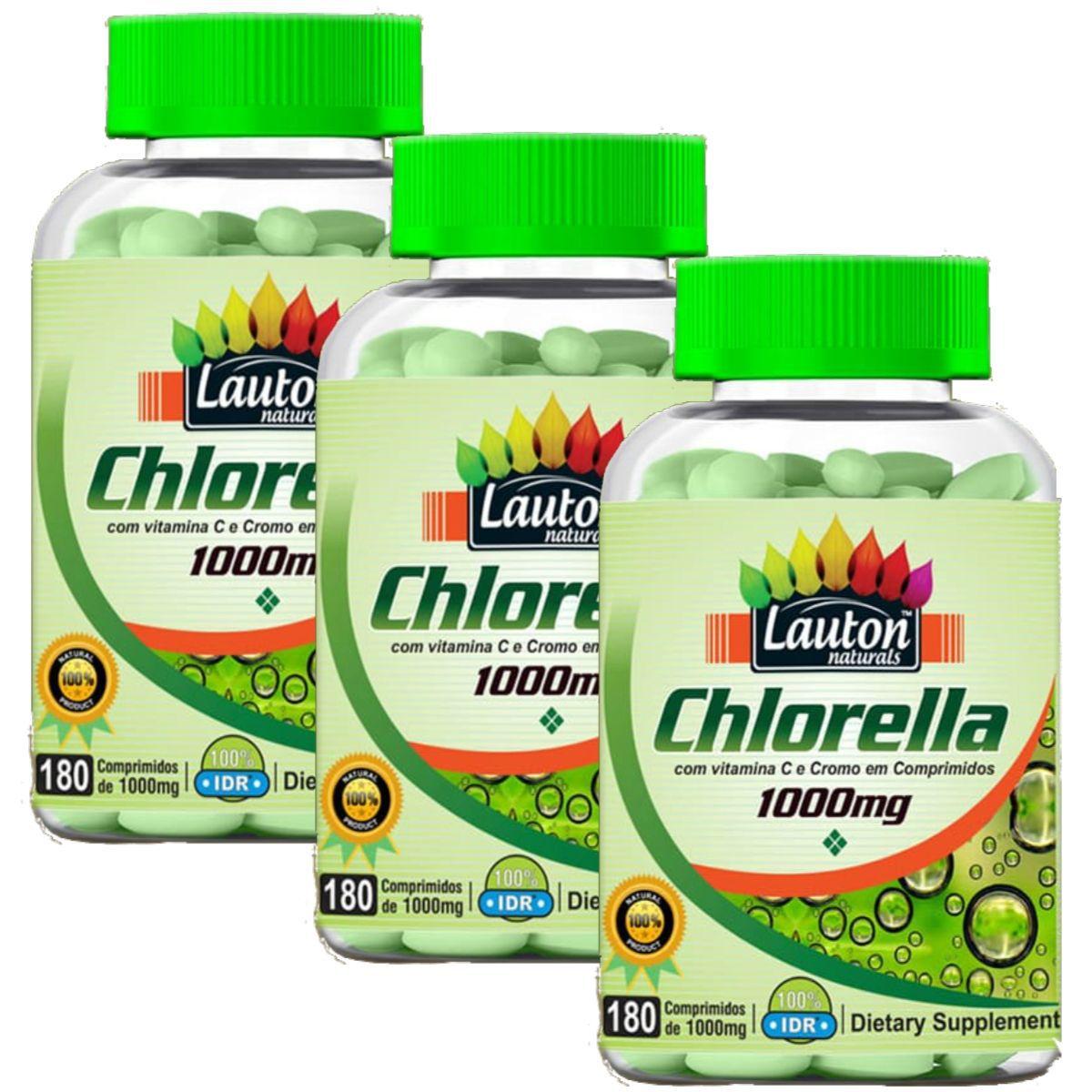 Kit 3 Chlorella Lauton Naturals - 1000mg 180 Comprimidos