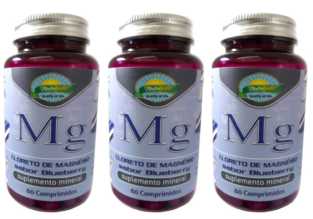 Kit 3 Cloreto de Magnésio Sabor Blueberry - 60 Comprimidos 1,2g