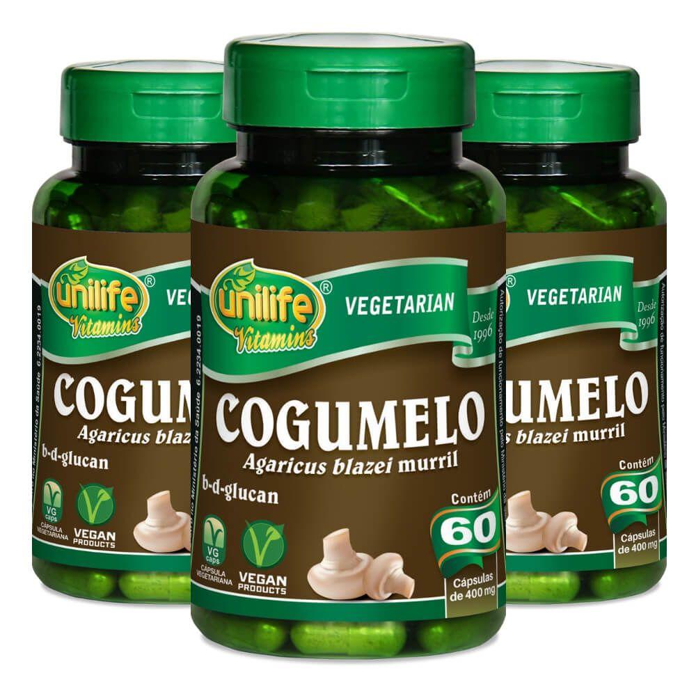 Kit 3 Cogumelo Agaricus Blazei Murril Unilife - 60 Cápsulas 400mg