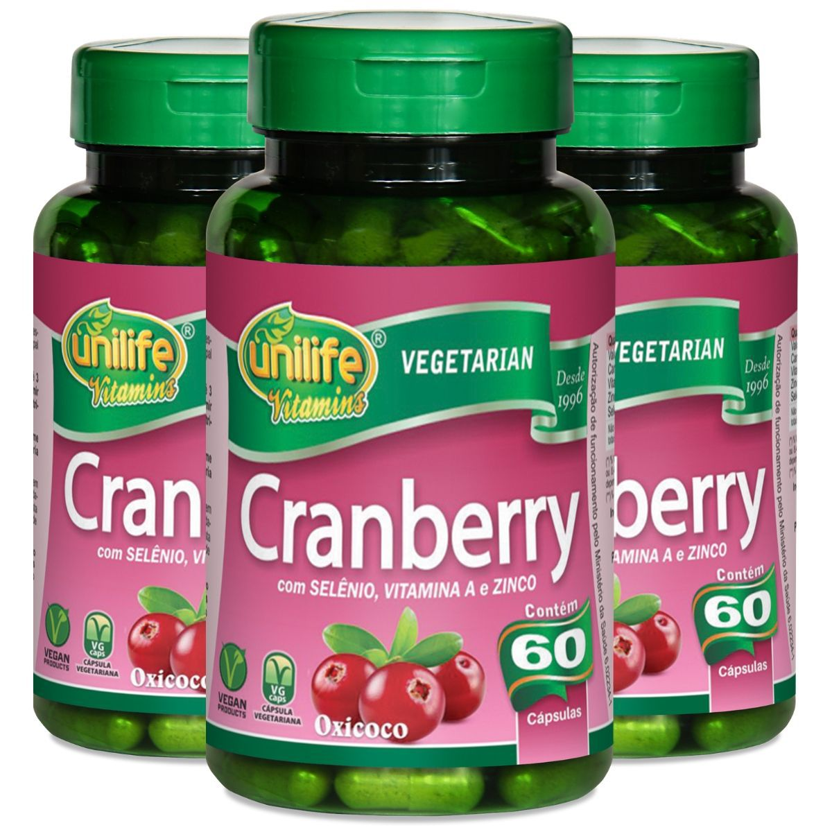 Kit 3 Cranberry Antioxidante 500mg 60 Capsulas - Unilife