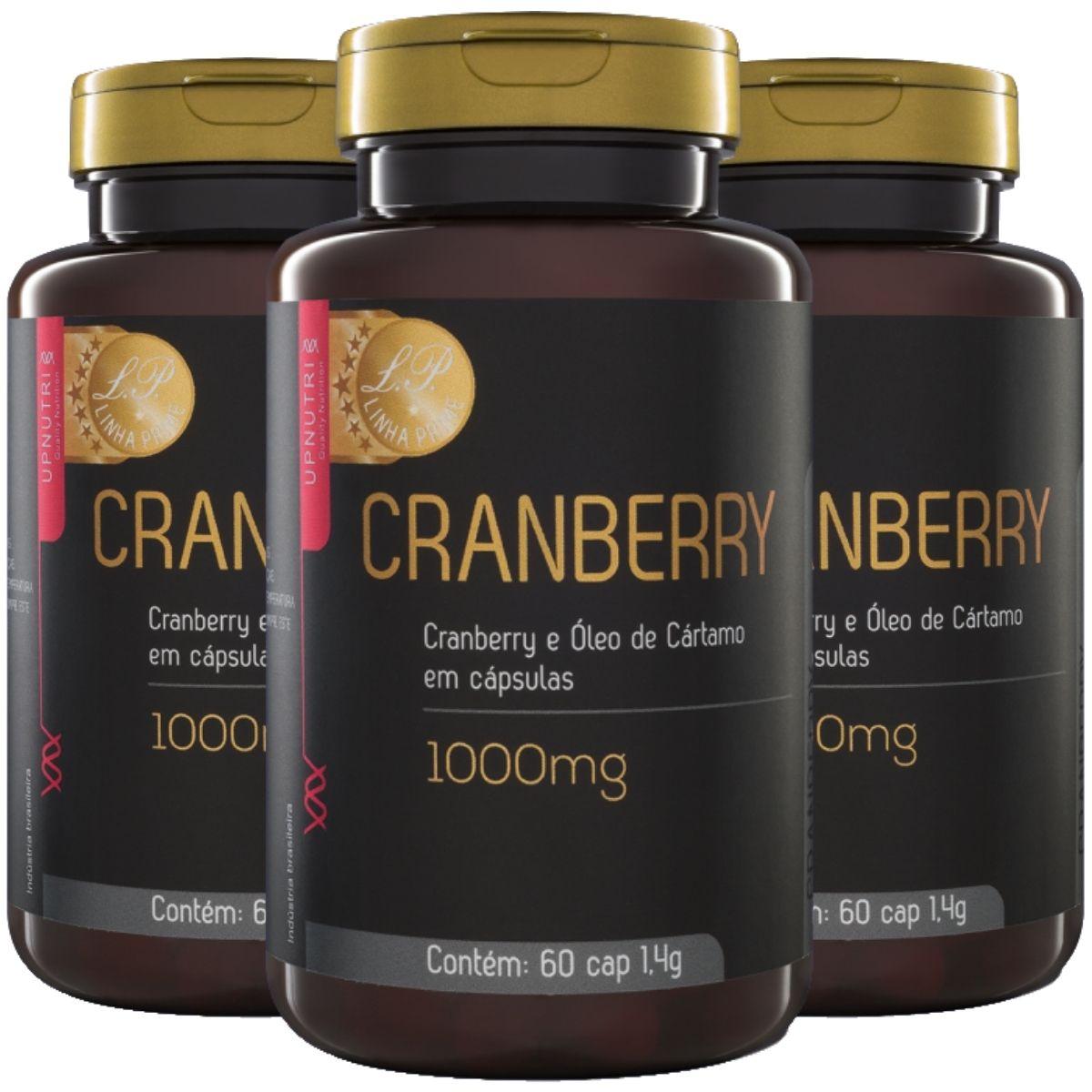 Kit 3 Cranberry e Óleo de Cártamo 1000mg 60 Cápsulas - Upnutri Prime