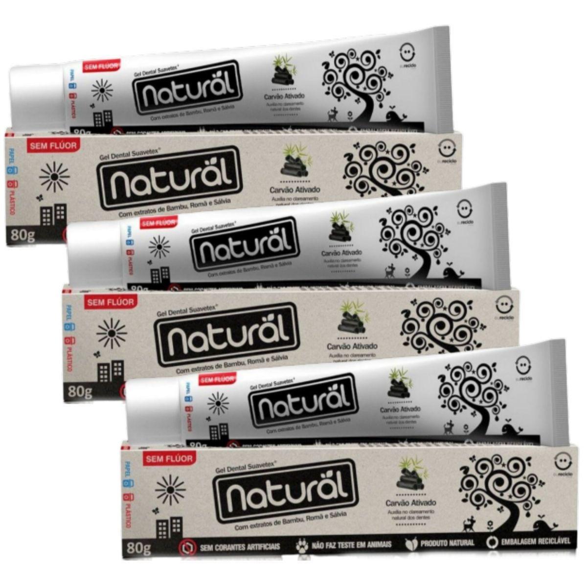 Kit 3 Creme Dental Suavetex Natural Carvão Ativado C/ Extratos de Bambu, Romã e Sálvia - 80g