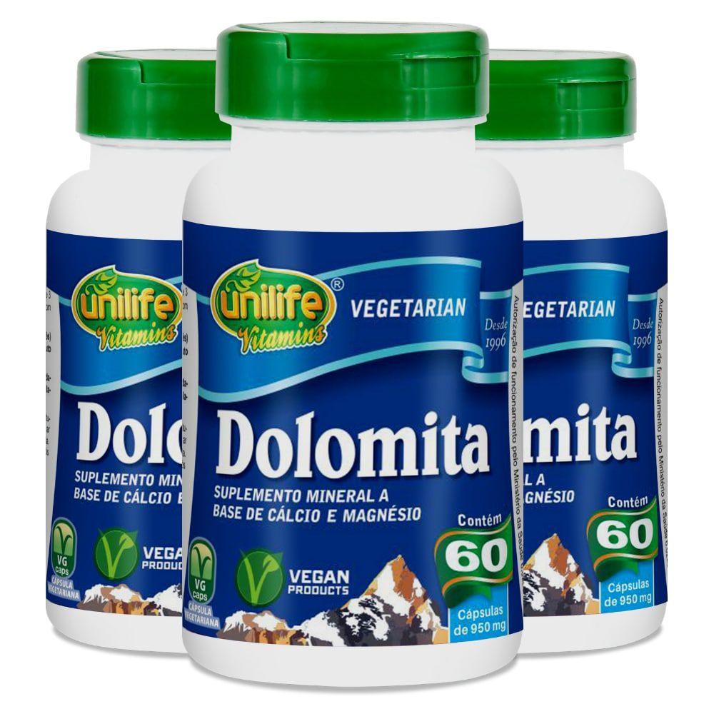 Kit 3 Dolomita - Cálcio e Magnésio Unilife 60 Cáps 950mg